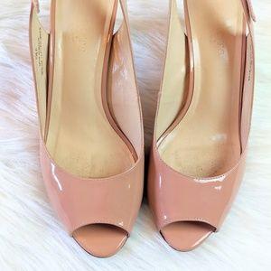 Talbots Shoes - Talbot's Leather Peep Toe Sling Back Heels 8.5